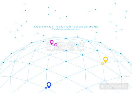 3D多边形网状球体,点线连接的科技矢量背景