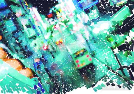 城市街道抽象插画