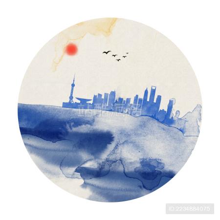 水墨上海地标