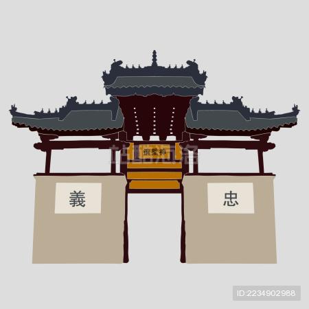 古典建筑 神垕镇 牌坊牌楼 标志矢量素材