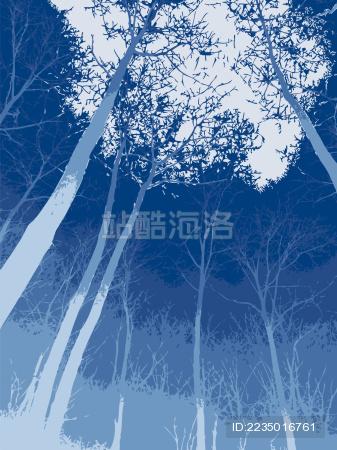 树林插画背景