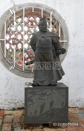 马六甲古城——三保庙里的郑和雕像