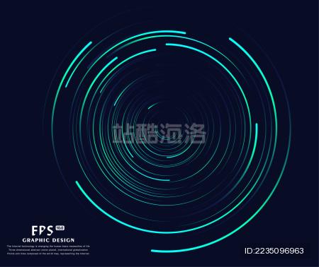 圆形的线条 科幻背景 抽象矢量背景图