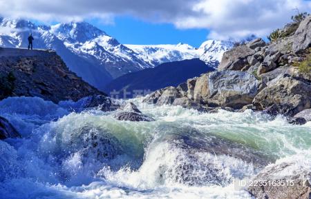 川藏线雪山流水