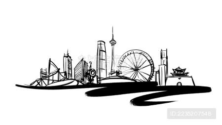 天津地标手绘