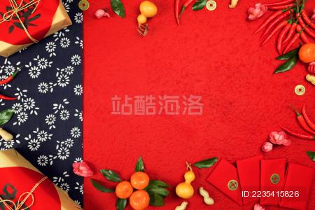 传统中国春节静物背景