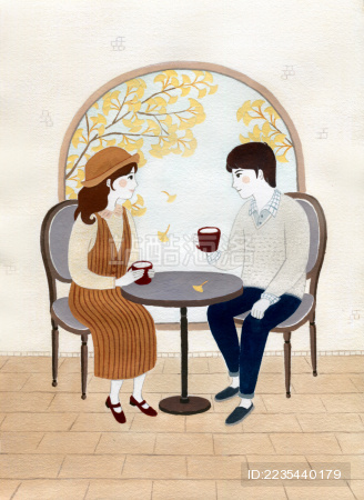 秋日银杏下的约会手绘水彩插画