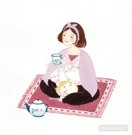 坐在地毯上喝茶的少女插画