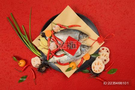 红色背景传统中国风节庆双鱼图片