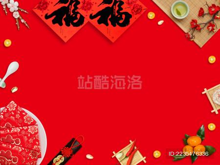 红色背景中国传统元素海报背景