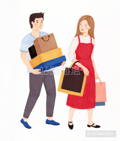 情侣夫妻逛街购物插画