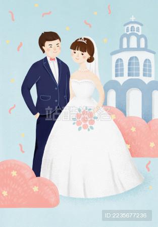 婚礼请柬结婚插画
