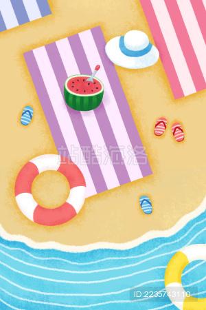 手绘夏天海滩沙滩度假插画1