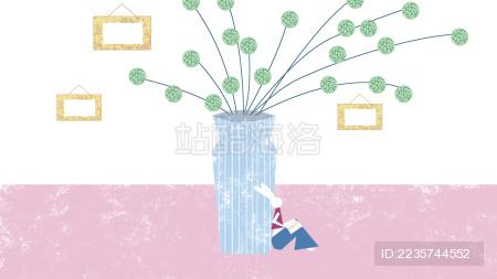 原创插画读书兔子动物浪漫温馨粉色花瓶花插相框花朵室内植物叶子生活装饰现代插画
