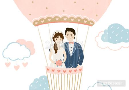 清新婚礼插画