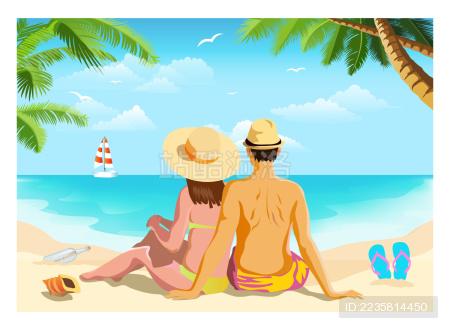 海岛沙滩度假情侣