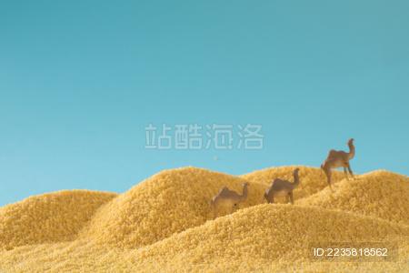 缩微小人 小人国 微距 沙漠里的骆驼 阿拉伯人 小米