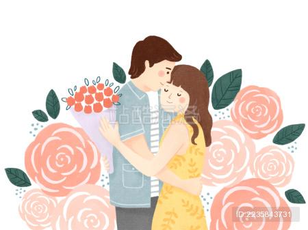 情人节七夕恋人拥抱玫瑰插画