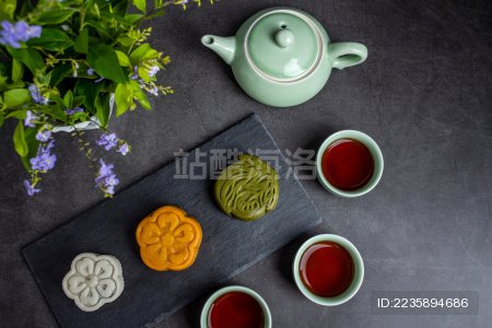 中秋节月饼和红茶/精美糕点甜品