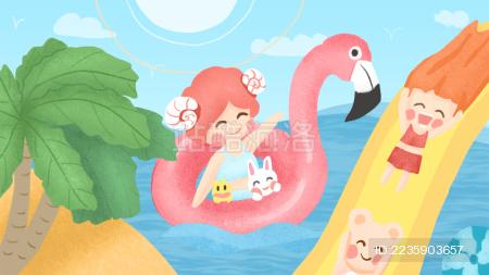 海边玩耍可爱插图