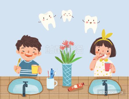 小朋友刷牙插画