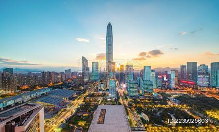 昼夜交替的深圳城市风光