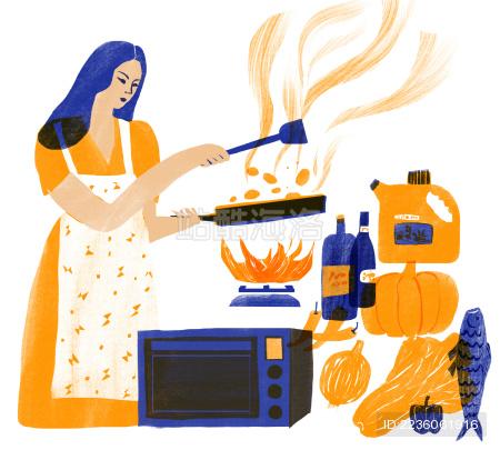 主妇在厨房烹饪时间 插画