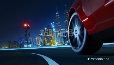低角度特写超级跑车快速运行中 三维渲染图