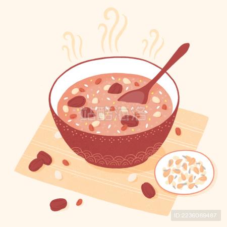 腊八粥美食插画