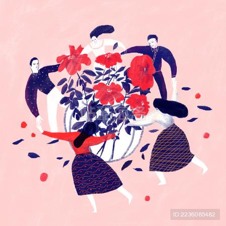 围着鲜花跳舞的欢乐派对男人女人们 插图插画