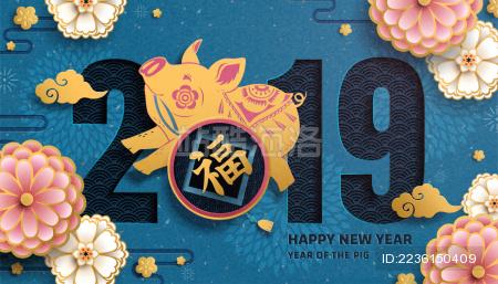 中国新年小猪与牡丹海报设计