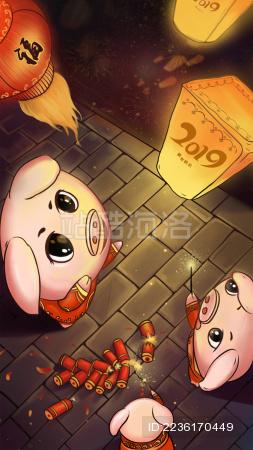 2019猪年大吉新年新春猪年插画素材