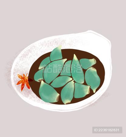 腊八节传统节日食品装在磁碟里的腊八蒜手绘插图