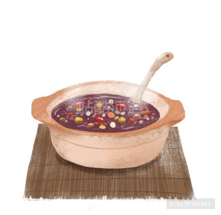 手绘插图砂锅里的腊八粥