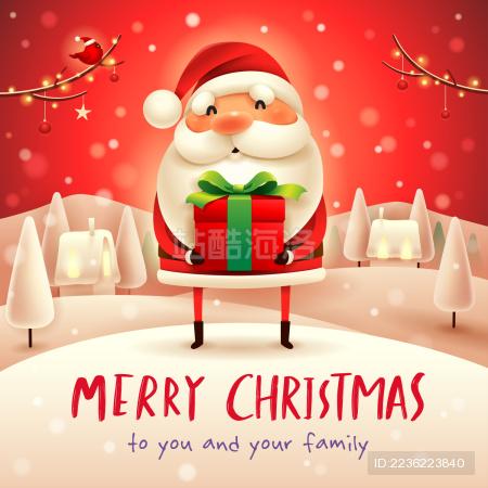 圣诞老人出现在圣诞雪景冬季景观的礼物。