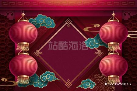 红灯笼与留白斗方背景