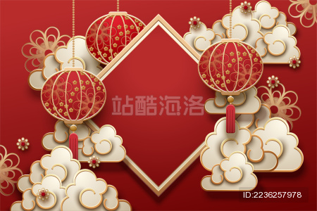 红色中国新年背景