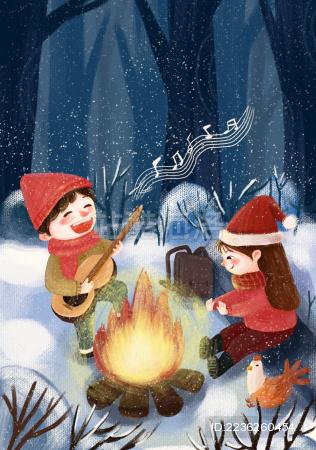冬日夜晚节气插画