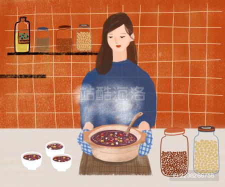 厨房里烹调腊八粥的女人