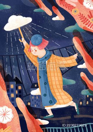 撑着雨伞的女孩