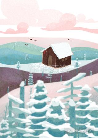 雪景中的房屋