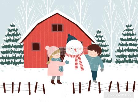 儿童堆雪人插画