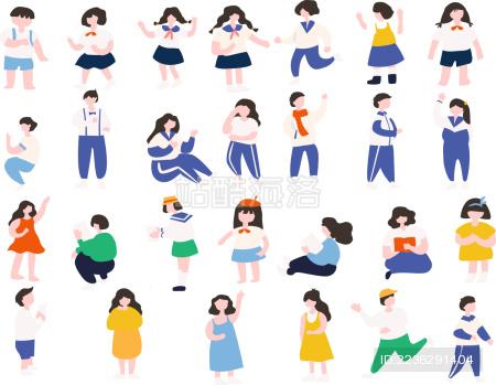 中小幼儿园学生青春校园人物插画