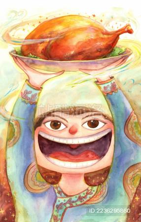 2019猪年新年春节过年年俗 腊月二十七 办年货宰公鸡 插画