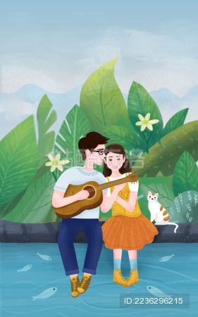 24节气小暑节气爱情插画