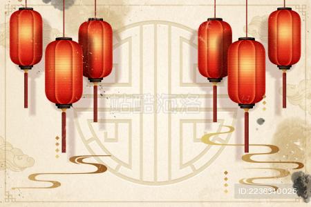 中国春节灯笼贺年背景矢量