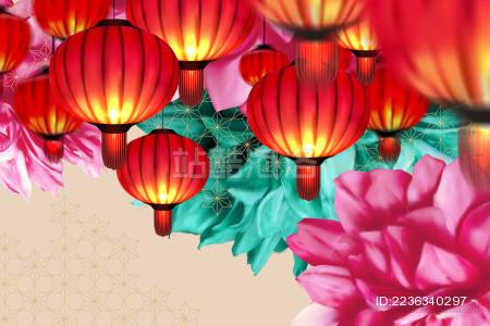 中国新年明信片背景设计模板