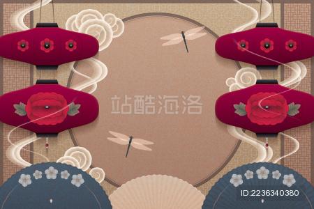 古典迎春春节贺卡背景设计模板
