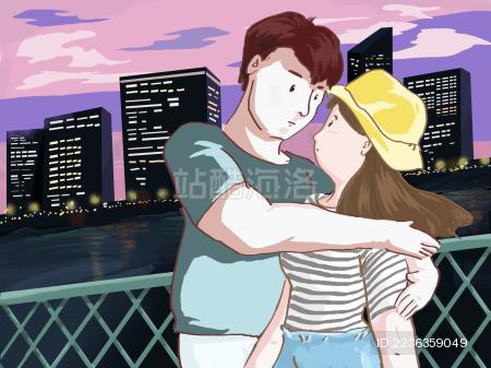 一堆青年情侣拥抱在城市背景前