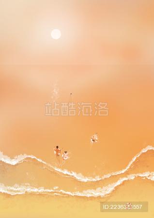 海边夕阳沙滩娱乐休闲插图